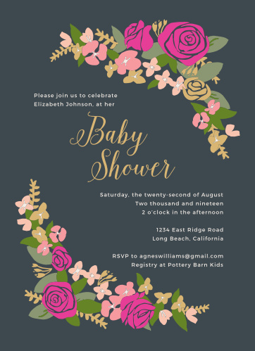 Enjoy the company of your friends and family when you use our Bright Wreath Baby Shower Invitations to invite them.