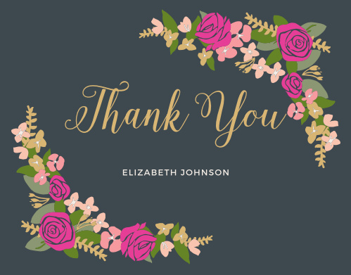 Thank all your supporters with our gorgeous Bright Wreath Baby & Bridal Thank You Cards.