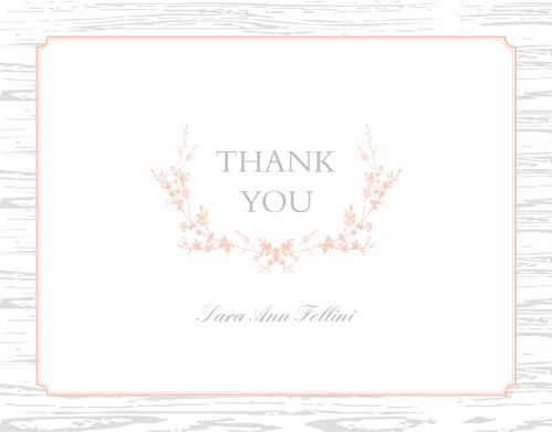Wreathed Woodgrain Baby U0026 Bridal Thank You Cards