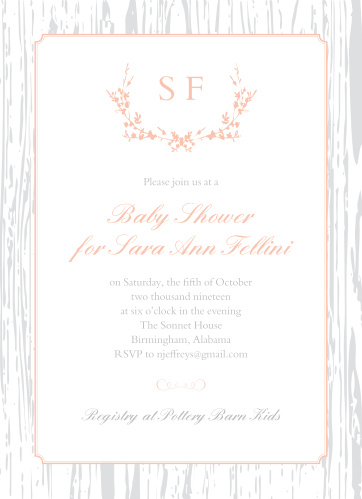 Surround yourself with your friends and family using our gorgeous Wreathed Woodgrain Baby Shower Invitations. With a lighthearted, elegant design filled with calligraphy and rustic illustrations, you can be sure that these cards are as easy on the eyes as they are to read- and with your friends and family supporting you in this next stage of life, you can be sure that your bond grows as strong as the wood illustrating the background.