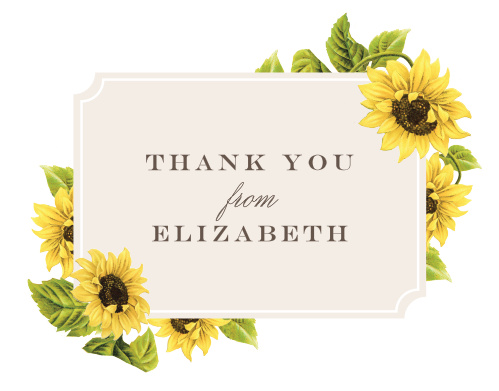 Thank all your supporters with our gorgeous Sunflower Field Baby & Bridal Thank You Cards.