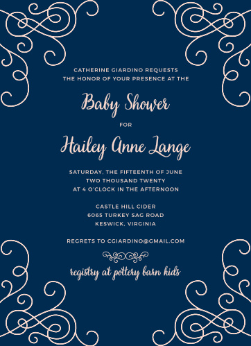 Gather your closest friends and family together with our stunning Swirled Simplicity Baby Shower Invitations. A deep blue background adds tasteful contrast to the pale pink spelling out the details of your day, as well as the elegant swirls decorating the corners.