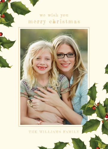 Traditional Holly Christmas Cards