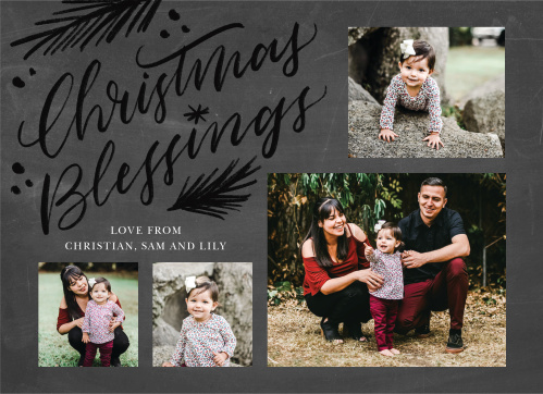 Our Evergreen Blessings Christmas Cards are a stunning way to pass along your holiday cheer this winter season. Flowing calligraphy spells out your message of peace in the top-left corner of the card, surrounded by illustrations of classic pine branches, before the card's focus transitions to your beautiful family photos along the outside borders.