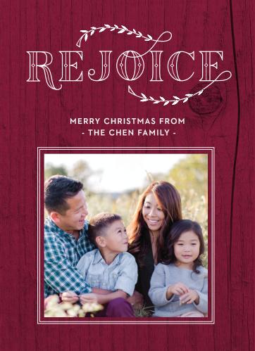 Our Rejoice Woodgrain Christmas Cards feature a cranberry colored, woodgrain background.