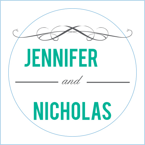 The Scrolls and Scallops logo square is the perfect finishing touch for this or any wedding invitation set.