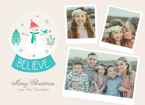 Our Snowman Snapshot Christmas Cards feature polaroid of you and your family that are scattered across one side of the card, and a darling illustration of snow-globe on the other.