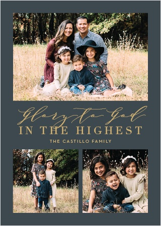Spread the true meaning of Christmas with our Glory to God Christmas Cards.