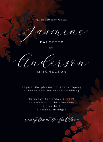 Dark, mysterious, and hopelessly romantic, our Dark Florals Wedding Invitations are the perfect invitation for your elegant wedding.