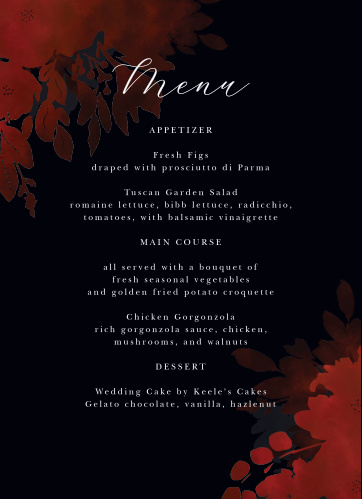 Dark Florals Wedding Menus offer a stunning style for your mouthwatering descriptions.