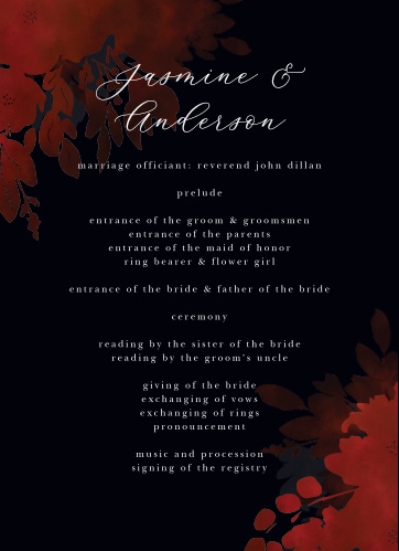 Dark, seductive, and hopelessly romantic, our Dark Florals Wedding Programs help walk your guests through each step of your wedding ceremony.