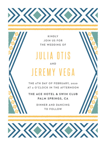 Our refreshingly modern Bohemian Beach Wedding Invitations utilize a variety of bright colors and geometric designs to provide your wedding day information in stunning style.