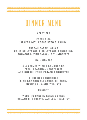 Bohemian Beach Wedding Menus turn meal dreams into a mouthwatering reality. Bright yarrow text and a double-duo of bold lines form the top and bottom borders of the page, leaving your guests' meal options to be spelled out in an easy to read print.