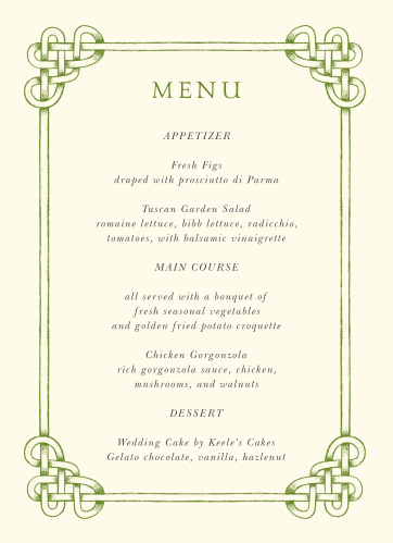 Our Celtic Knot Wedding Menus are a perfectly charming way to treat your guests to a memorable dining experience.