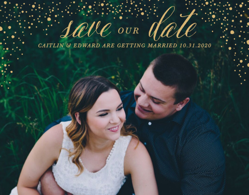 Our Gothic Halloween Save-the-Date Magnets feature a smattering of gold-foiled lights that raise off of your engagement photo.