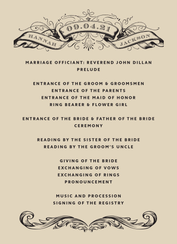 Our Victorian Type Wedding Programs have the antique, classic look that you've been searching for.