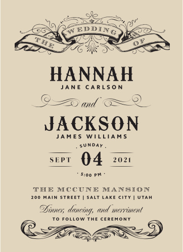 Our Victorian Type Wedding Invitations have the antique, classic look that you've been searching for.