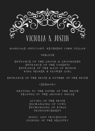 Our Gothic Magic Wedding Programs are the epitome of moody elegance.
