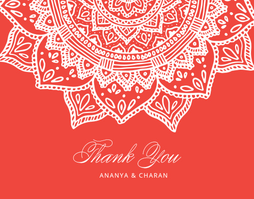 Your guests will fall in love with our Indian Mandala Wedding Thank You Cards.