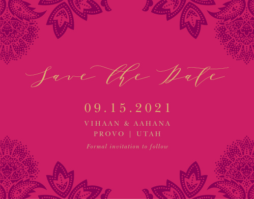 Give your guests the advance notice they need with our gorgeous Indian Henna Save-the-Date Magnets.