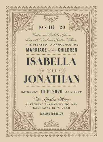 Ensure that each of your most cherished loved ones has a ticket of admission to your wedding day with our Vintage Admission Wedding Invitations. These lovely cards carry the classic look of a 1920s broadway ticket: intricate borders and elegant typefaces complement the aged-appearance of the background paper, while a simple ticket stub is created in the negative space of the designs surrounding your text.