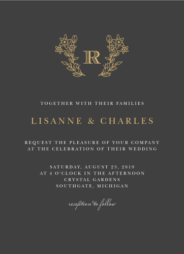 Dark, deliberate, and endlessly elegant, our Dark Monogram Wedding Invitations carry every single one of your wedding details in the unforgettable style you've been looking for.