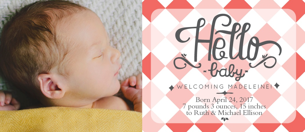 The Wilcox is the perfect announcement card to introduce your baby to the world.