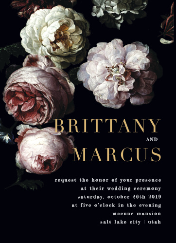 Our Moody Florals Wedding Invitations feature a vivid display of dark and dewy peonies.