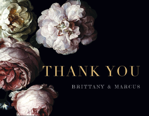 Our Moody Florals Wedding Thank You Cards feature a vivid display of dark and dewy peonies.