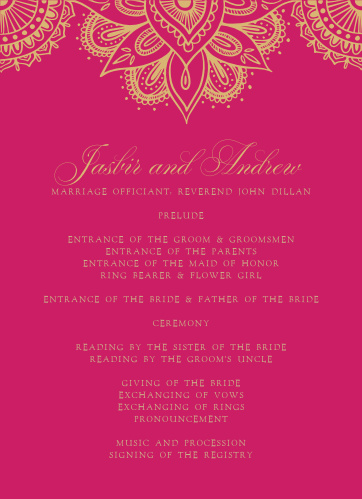 Our Hindu Celebration Wedding Programs are lush and full of life.