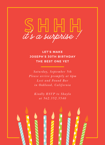 Is it almost time to celebrate that special milestone in you or your loved one's life? Our Candle Surprise Milestone Birthday Party Invitations are here to spread the word!