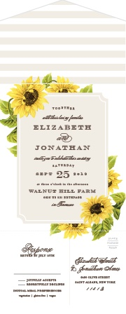 Our gorgeous Sunflower Frame Seal & Sends are the perfect invitations for a summer wedding.