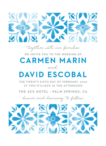 Worn, marina blue tile decorates our Mexican Tiles Wedding Invitations.