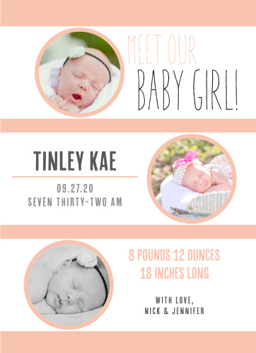 Customize this fun and modern design to show off your newborn! Choose from over 150 different color combinations and fonts!