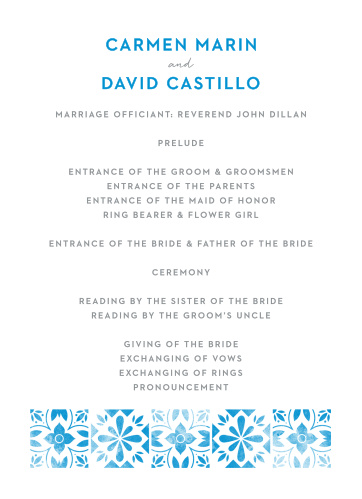 A tiled, vintage, floral pattern decorates the bottom of the Mexican Tiles Wedding Programs.