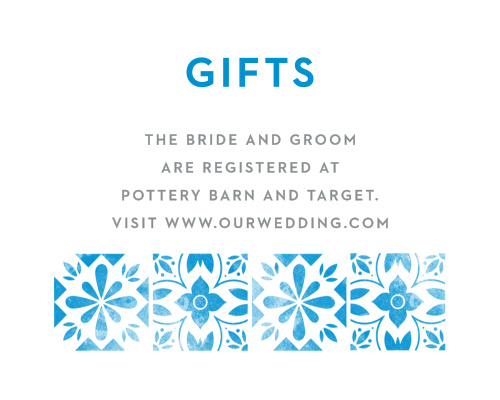 A tiled, vintage, floral pattern decorates the bottom of the Mexican Tiles Wedding Registry Cards.