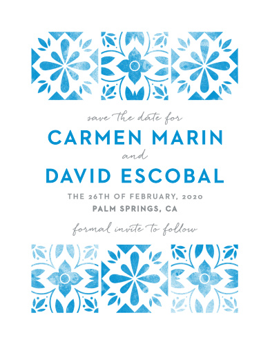 Worn, marina blue tile decorates our Mexican Tiles Save-the-Date Cards.