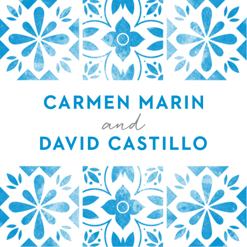 Worn, marina blue tile with an aged, floral pattern decorates our Mexican Tiles Wedding Stickers.
