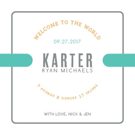 The Colorful Ribbon Birth Announcement is adorned in cuteness. This announcement is the perfect announcement to show off your bundle of joy.