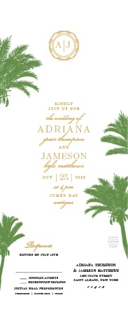 Exotic palm trees accent the sides of corners of the Caribbean Palm Seal & Send Wedding Invitations.