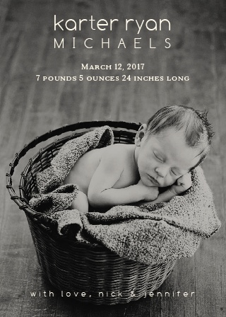 Welcome Blessing Birth Announcements