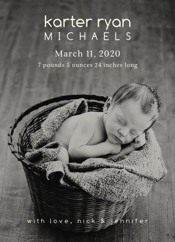 Show off your newborn with this modern baby announcement.
