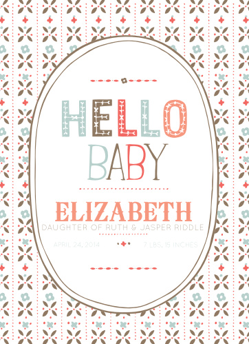 The Floral Line birth announcement is the most adorable way to share the news of your newest member of the family with loved ones!