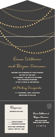 Our String Lights Seal & Send Wedding Invitations feature twinkling, gold-foiled string lights that are draped above your elegantly scripted wedding details.
