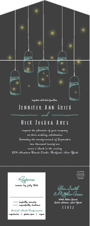 A stormy grey background sets the stage for gorgeous handing mason jars and fireflies with calligraphy to follow for our Mason Jars & Fireflies Seal & Send Wedding Invitations.
