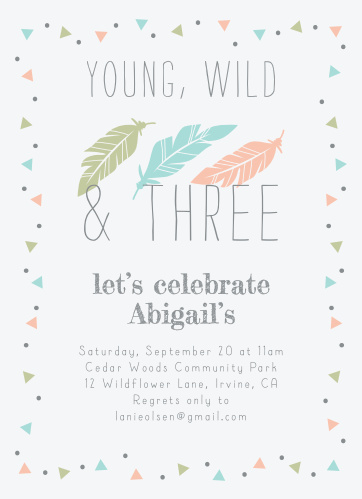 young wild childrens birthday party invitations