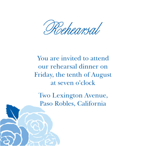 Neat, swirling calligraphy titles our Mexican Flowers Rehearsal Cards in deep blue, offering a stunning contrast to the white background behind it. Carefully, deliberately faded florals decorate the bottom-left corner in shades just a few hues lighter than the text in the center spelling out all of your dinner details. With the unforgettable vintage design of these cards, you can be sure that all of your friends and family are there for an intimate dinner before the big day.