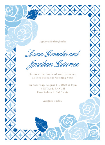Our Mexican Flowers Wedding Invitations are a faded floral mosaic of your wedding-day information.