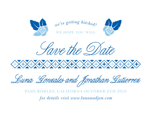 Make sure that your guests have marked your wedding day on their calendars with the unforgettable style of our Mexican Flowers Save-the-Date Cards. A combination of elegant calligraphy and neat type share every important detail of your wedding day, resplendent in blue and separated by a faded mosaic of enameled tile for a stunning look. With a crown of flowers to showcase your own blooming love, these cards will look lovely in the homes and hearts of your loved ones.