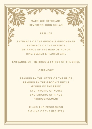 Describe each unforgettable moment and member of your wedding ceremony with the vintage styling of our Storybook Frame Wedding Programs. Old-fashioned illustrations frame your wedding day's details, their graham-cracker color combining with the cream background to make each page as easy to read as it is to love.
